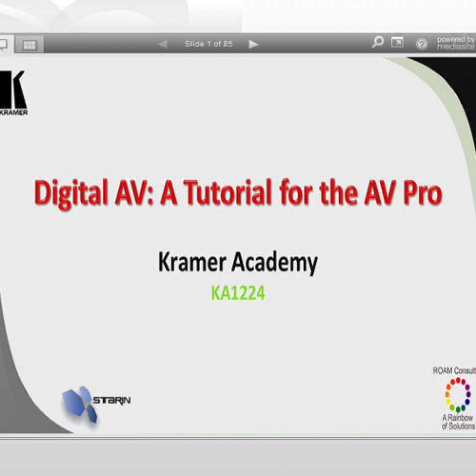Starin - Digital AV: A Tutorial for the AV Pro